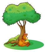 An animal taking a rest under a tree — Stock Vector