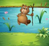 A beaver with a wood in the river — Stock Vector
