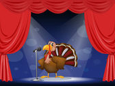 A turkey in the center of a stage — Stock Vector