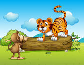 A monkey and a tiger — Stock Vector