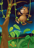 A beaver in the dark forest — Stock Vector