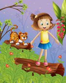 A girl and a tiger in the forest — Stock Vector
