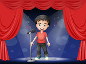 A young man performing at the stage — Stock Vector