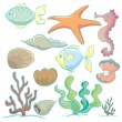 Stock Vector: Sea animals and plants