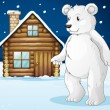 Cabin and polar bear — Stock Vector
