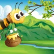 A bee bringing a honey — Stock Vector