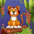 A tiger sitting in a wood — Stock Vector #20023493