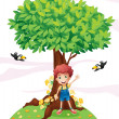 A young boy standing under a big tree with two birds — Stock Vector #20023553