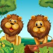 Two lions in the forest — Stock Vector