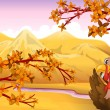 A turkey in an autumn view - Stock Vector