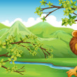 Stock Vector: Lion in mountain scenery