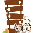 A tiger in a jumping position — Stock Vector