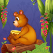 A bear sitting in a wood — Stock Vector