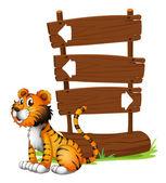 A tiger beside a wooden signboard — Stock Vector