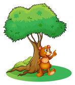 A wild animal under a tree — Stock Vector