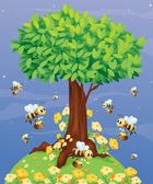 A tree with bees — Stock Vector