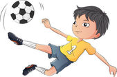 A little boy playing soccer — Stock Vector