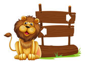 A lion sitting beside a signboard — Stock Vector
