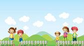 Five children in the farm — Stock Vector