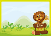 A lion and the signboard — Stock Vector