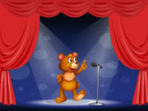A bear performing on the stage — Stock Vector