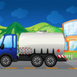 An oil truck passing a school - Image vectorielle