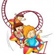 Three children riding in a roller coaster — Stock Vector