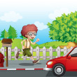 Stock Vector: A boy running along the road