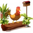 A rooster above a trunk - Stock Vector