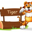 A tiger standing at the right side of a sign board — Stock Vector