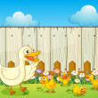 Stock Vector: A duck and ducklings inside a fence
