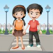 Two teenager holding hands together — Stock Vector