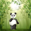 Stock Vector: A panda in the bamboo forest