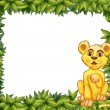 Stock Vector: Yellow tiger in leafy frame