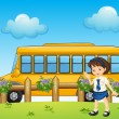 A student and the school bus - Stock Vector