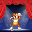 A tiger at the center of the stage - Stock Vector