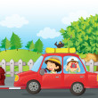 A boy and a girl in a car — Stock Vector