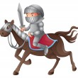 Stock Vector: Soldier riding horse