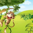 A hanging monkey and a beautiful nature — Stock Vector #20034687
