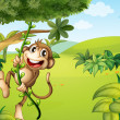 A hanging monkey and a beautiful nature — Stock Vector