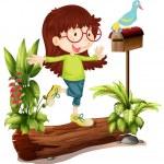una chica nerd y un pájaro — Vector de stock