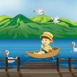 A boy riding on a wooden boat - Stock Vector