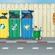 Stockvector : Dustbins, a fire hydrant and a notice board
