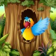 Bird in tree hollow — Vector de stock #20034863