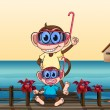 Monkeys wearing goggles — Stock Vector