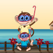 Stock Vector: Monkeys wearing goggles
