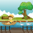 A boy riding on a boat followed by ducks - Stock Vector