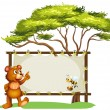 Stock Vector: A notice board, a bear and a honey bee