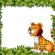 Stock Vector: Tiger sitting in leafy frame