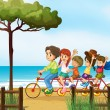 Happy kids and bicycle — Stock Vector #20034919